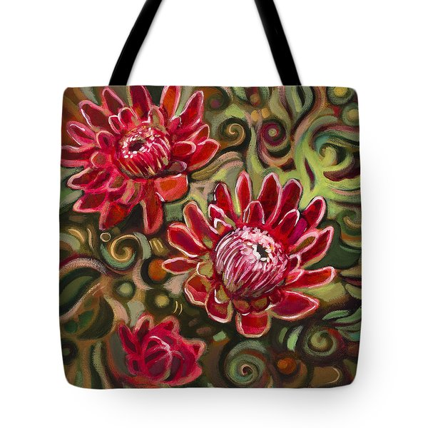 Red Proteas Tote Bag by Jen Norton