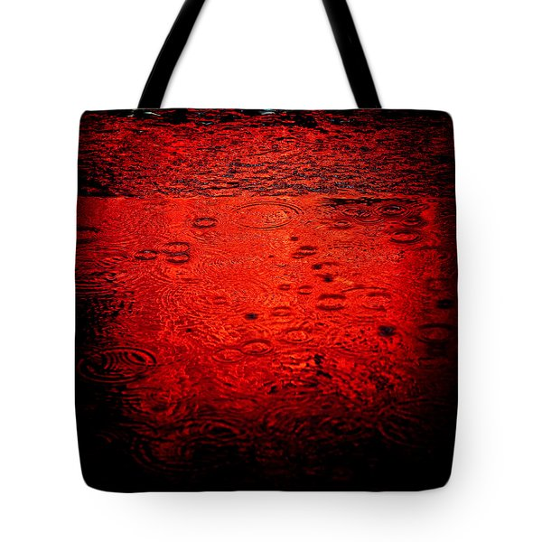 Red Rain Tote Bag by Dave Bowman