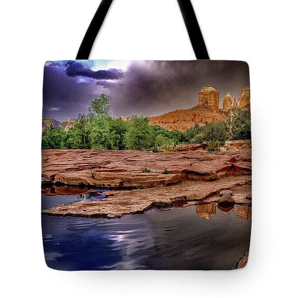 Red Rock Crossing Red Rock State Park Tote Bag by  Bob and Nadine Johnston