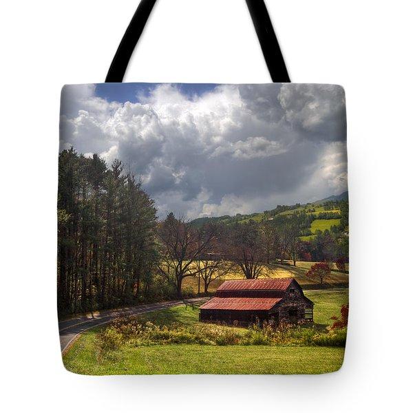 Red Roof Barn Tote Bag by Debra and Dave Vanderlaan