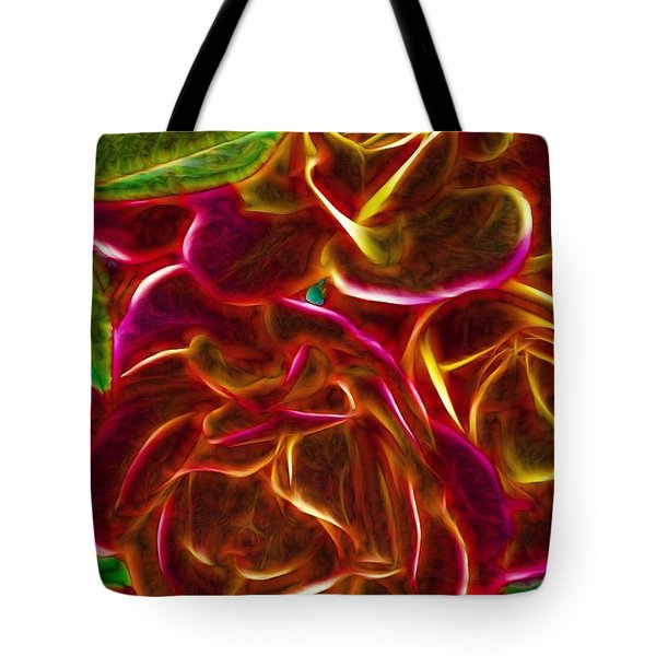 Red Roses With Soft Glow Tote Bag by Lilia D