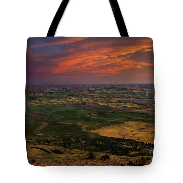 Red Sky Over The Palouse Tote Bag by Mike  Dawson