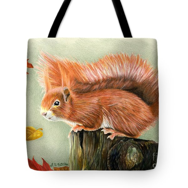 Red Squirrel In Autumn Tote Bag by Sarah Batalka