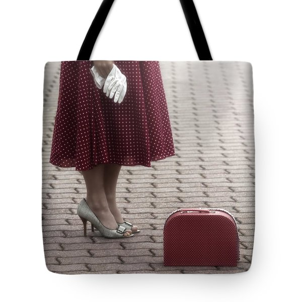 Red Suitcase Tote Bag by Joana Kruse