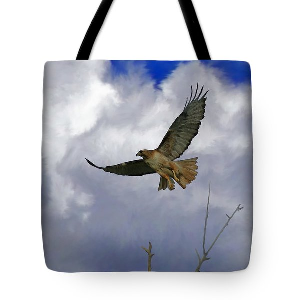 Red Tail Hawk Digital Freehand Painting 1 Tote Bag by Ernie Echols