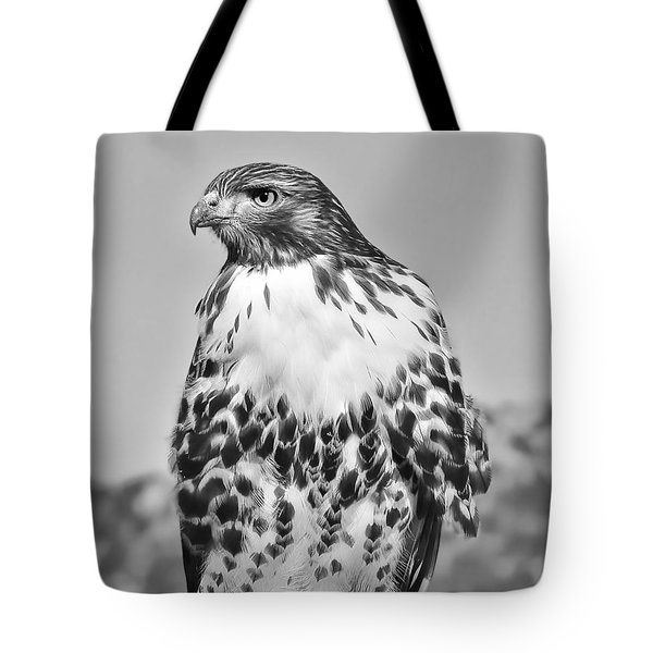 Red Tail Hawk Youth Black And White Tote Bag by Jennie Marie Schell