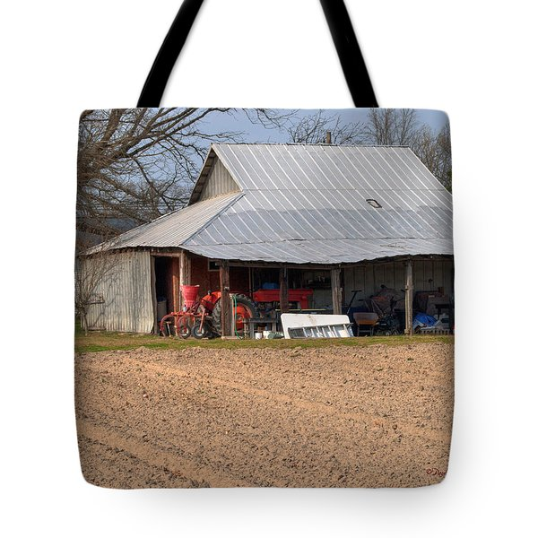 Red Tractor In A Tin Roofed Shed Tote Bag by Paulette B Wright