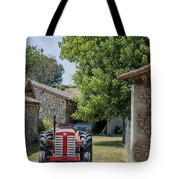 Red Tractor on a French Farm Tote Bag by Nomad Art And  Design