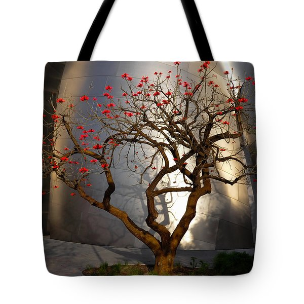Red Tree Tote Bag by Gandz Photography