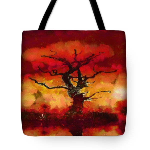 Red tree of life Tote Bag by Pixel Chimp