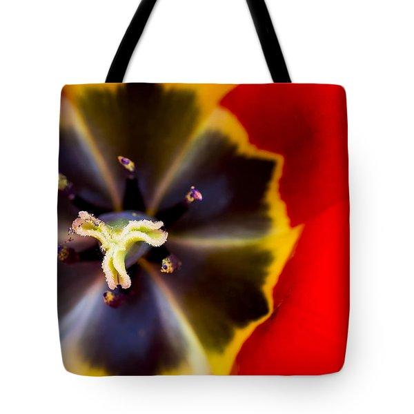 Red Tulip Macro Tote Bag by Adam Romanowicz