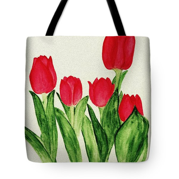 Red Tulips Tote Bag by Anastasiya Malakhova