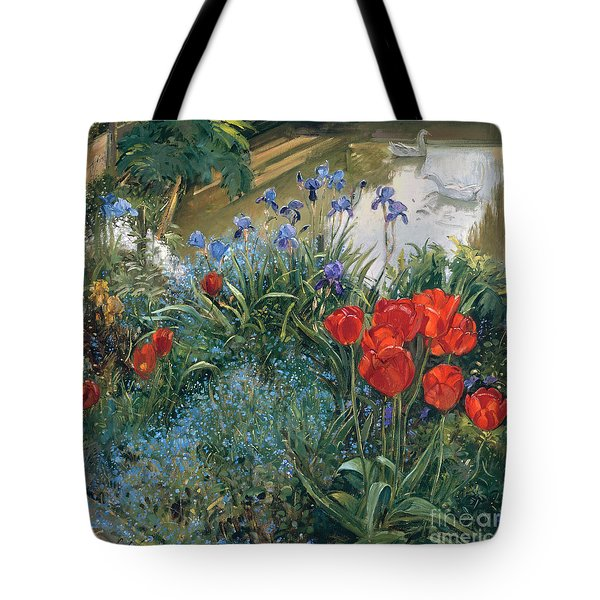 Red Tulips And Geese  Tote Bag by Timothy Easton