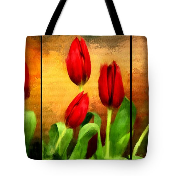 Red Tulips Triptych Tote Bag by Lourry Legarde