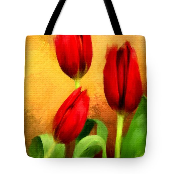 Red Tulips Triptych Section 2 Tote Bag by Lourry Legarde