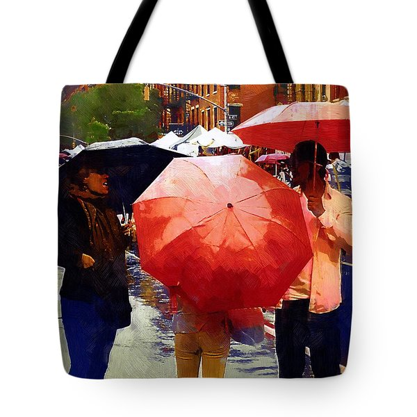 Red Umbrellas In The Rain Tote Bag by RC deWinter