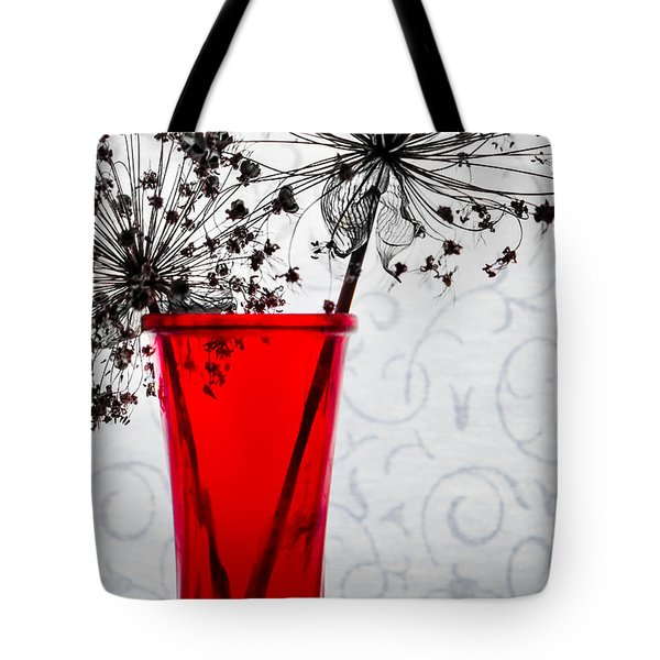 Red Vase With Dried Flowers Tote Bag by Michael Arend