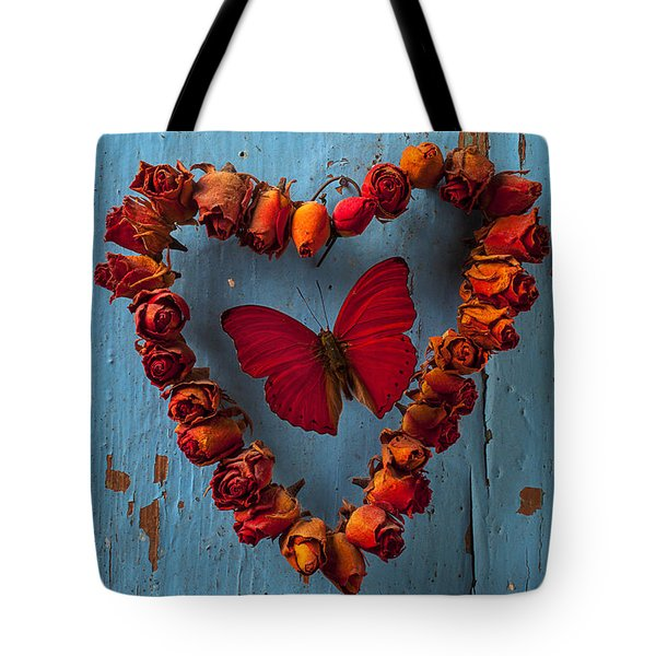 Red Wing Butterfly In Heart Tote Bag by Garry Gay
