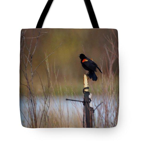 Red Winged Blackbird 2 Tote Bag by Ernie Echols
