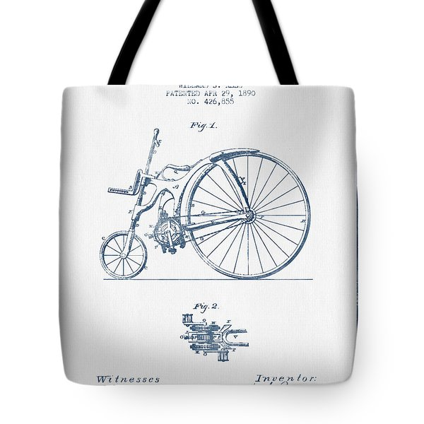 Reed Bicycle Patent Drawing From 1890 - Blue Ink Tote Bag by Aged Pixel