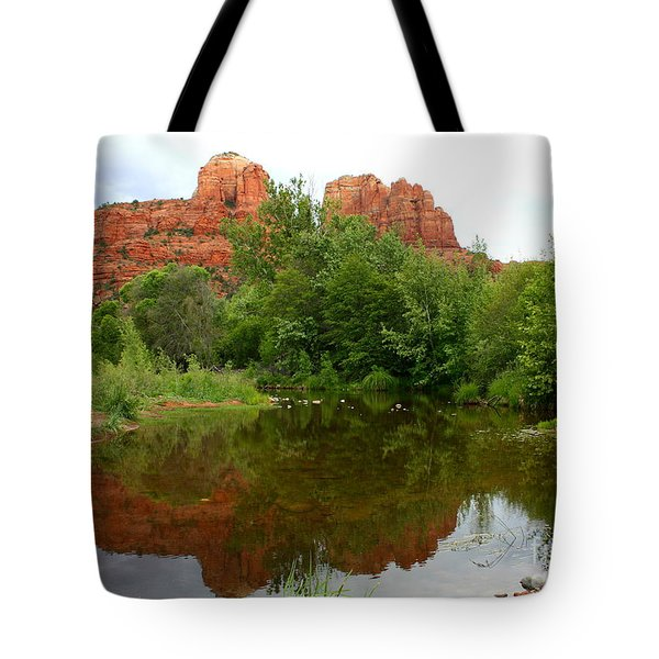 Reflection Of Cathedral Rock Tote Bag by Carol Groenen