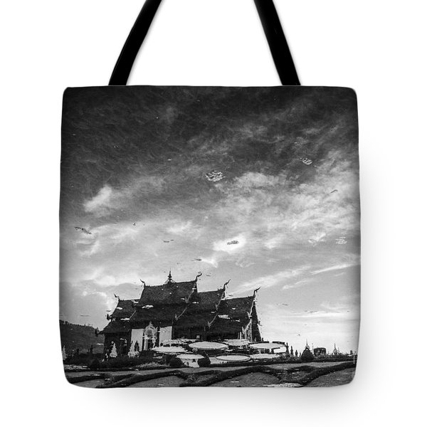 Reflection Of Royal Park Rajapruek Temple In The Water Tote Bag by Setsiri Silapasuwanchai