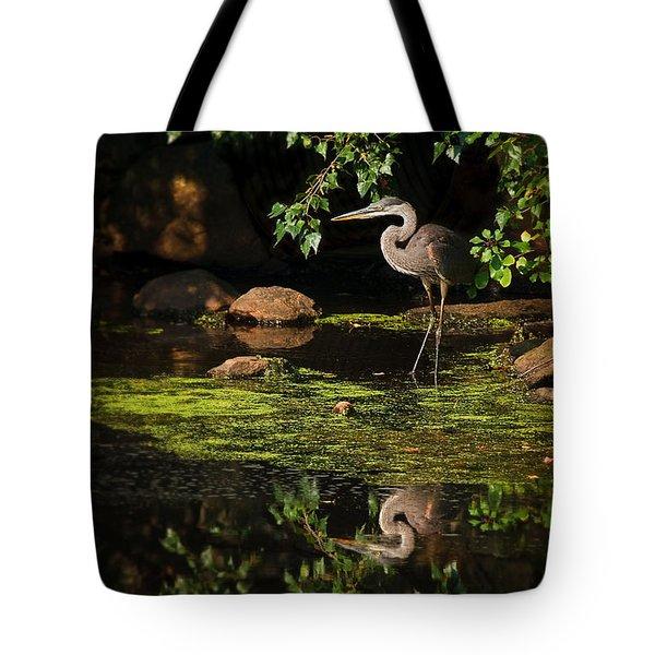 reflective heron Tote Bag by Sylvia J Zarco