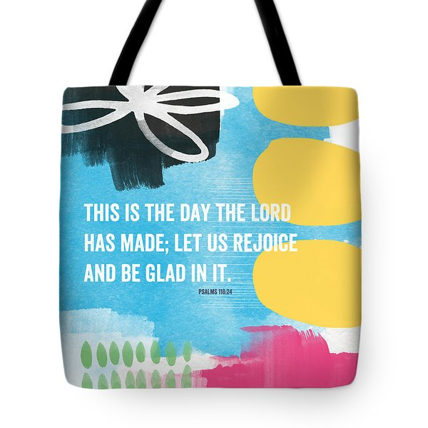 Rejoice And Be Glad- Contemporary Scripture Art Tote Bag by Linda Woods