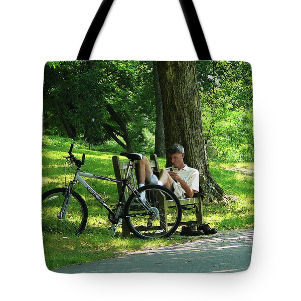 Relaxing After The Ride Tote Bag by Susan Savad