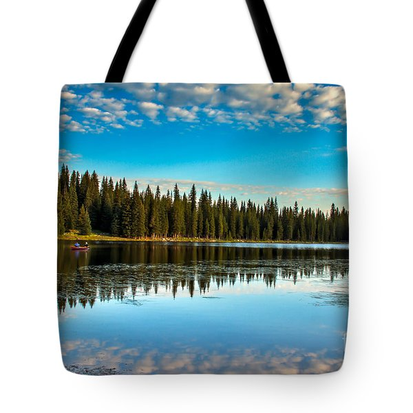 Relaxing On The Lake Tote Bag by Robert Bales