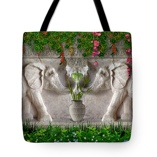 Relief Of African Elephants Tote Bag by Bedros Awak