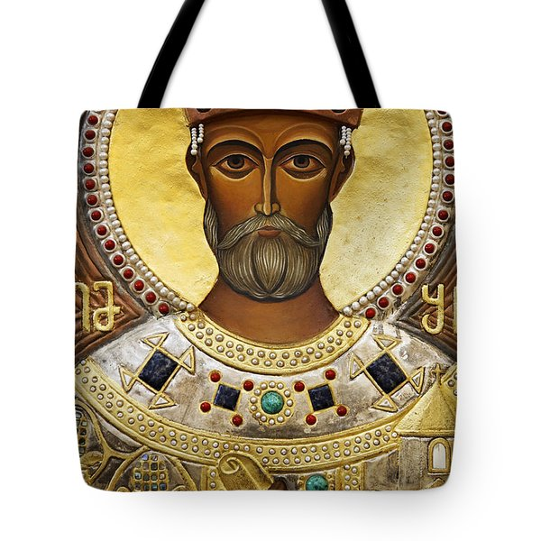 Religious Art Inside The Tsminda Sameba Cathedral Tbilisi Tote Bag by Robert Preston