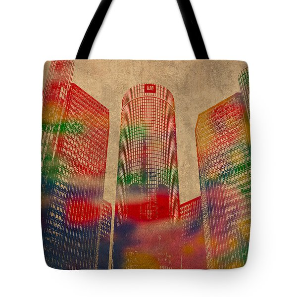 Renaissance Center Iconic Buildings of Detroit Watercolor on Worn Canvas Series Number 2 Tote Bag by Design Turnpike