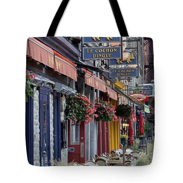 Restaurant Le Cochon Dingue In The Old Port Of Quebec City Tote Bag by Juergen Roth