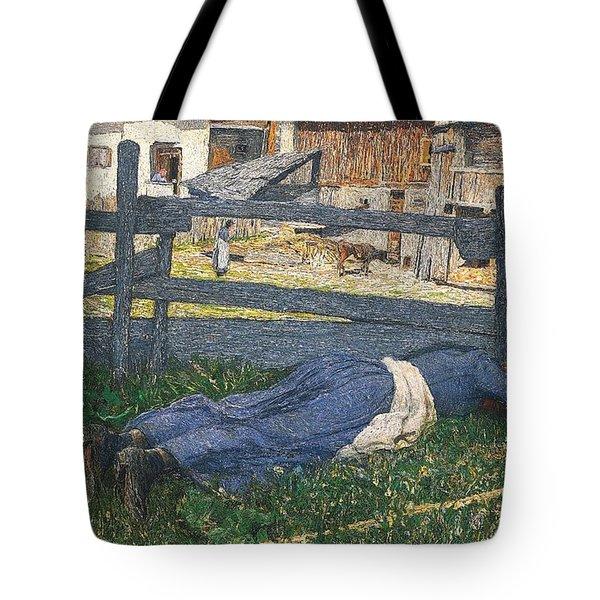 Resting In The Shade Tote Bag by Giovanni Segantini
