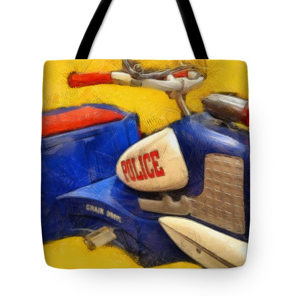 Retro Police Tricycle Tote Bag by Michelle Calkins