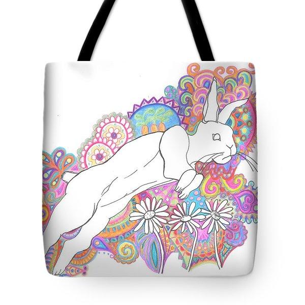 Retro Rabbit 2 Tote Bag by Cherie Sexsmith