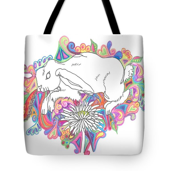 Retro Rabbit Tote Bag by Cherie Sexsmith
