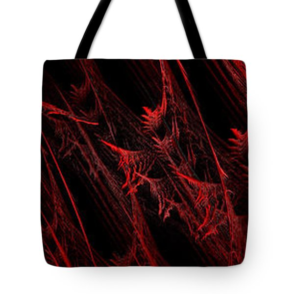 Rhapsody In Red H - Panorama - Abstract - Fractal Art Tote Bag by Andee Design