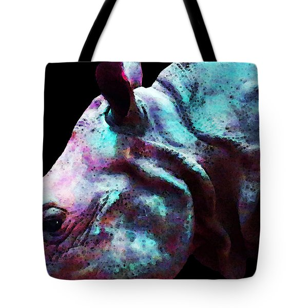 Rhino 1 - Rhinoceros Art Prints Tote Bag by Sharon Cummings