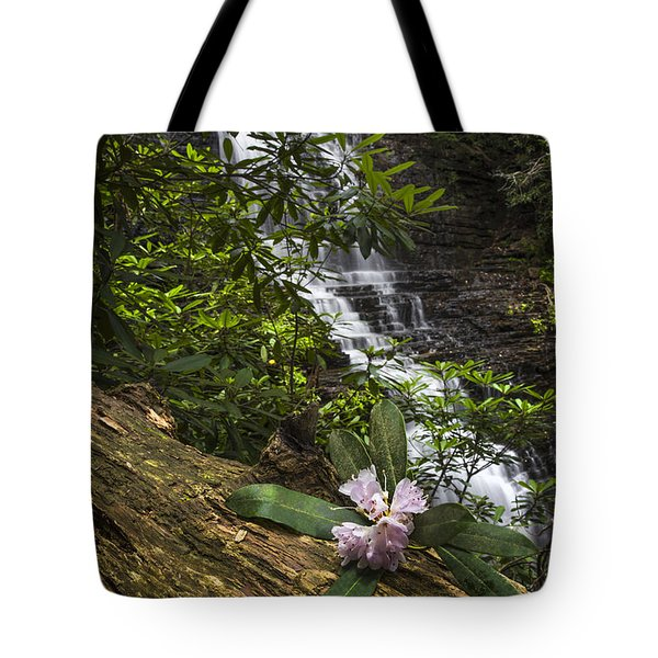 Rhododendron At The Falls Tote Bag by Debra and Dave Vanderlaan