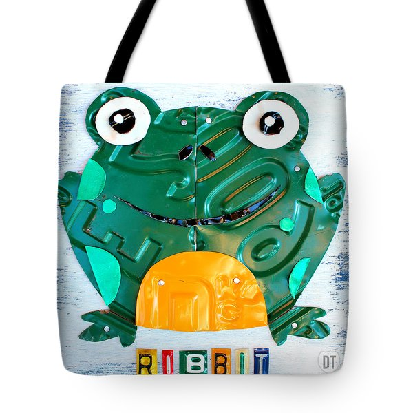 Ribbit the Frog License Plate Art Tote Bag by Design Turnpike