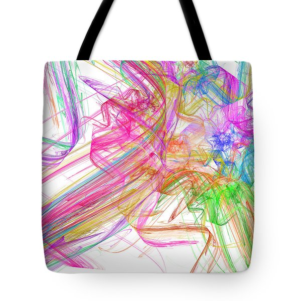 Ribbons And Curls White - Abstract - Fractal Tote Bag by Andee Design