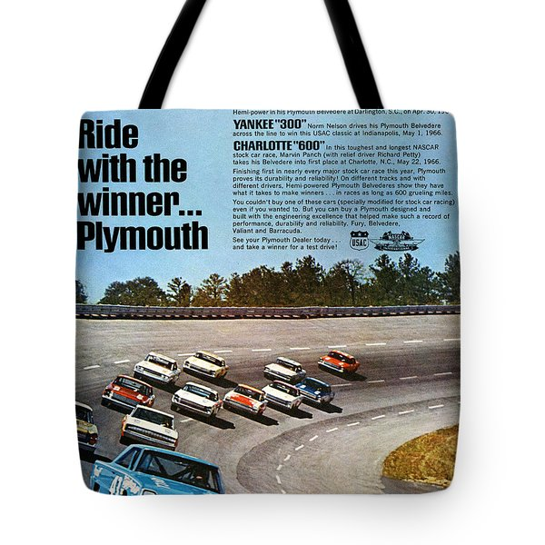 Ride with the winner... Plymouth Tote Bag by Digital Repro Depot