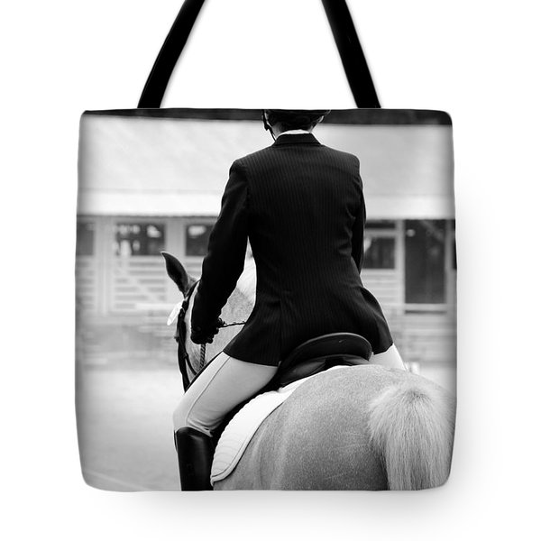 Rider In Black And White Tote Bag by Jennifer Ancker