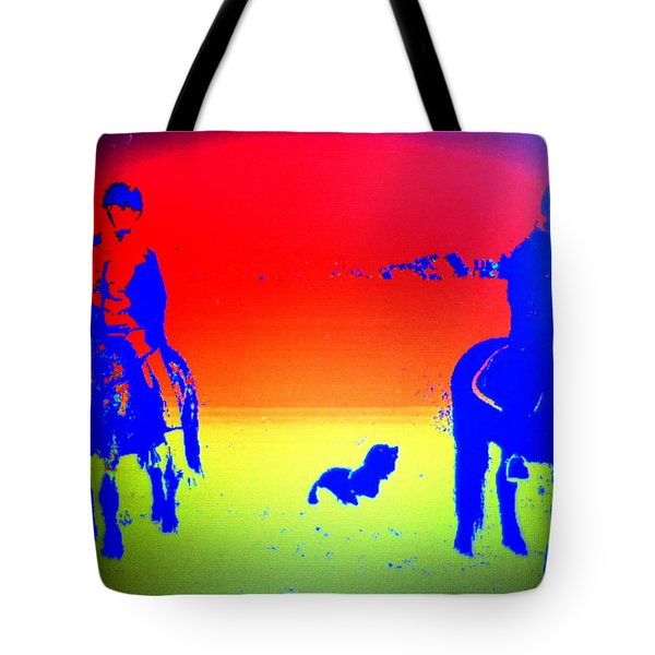 Riders In The Fields Tote Bag by Hilde Widerberg