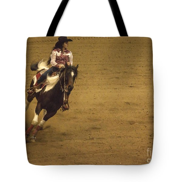 Riding Around The Barrel Tote Bag by Janice Rae Pariza