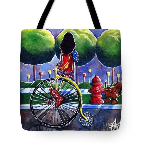 Riding Grandmas Bike Tote Bag by Jackie Carpenter