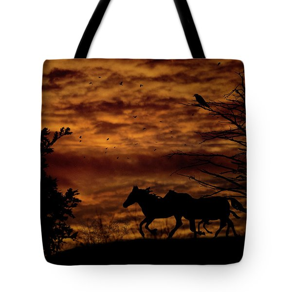 Riding Into The Night Tote Bag by Diane Schuster