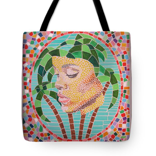 Rihanna Portrait Painting In Mosaic Tote Bag by Jeepee Aero